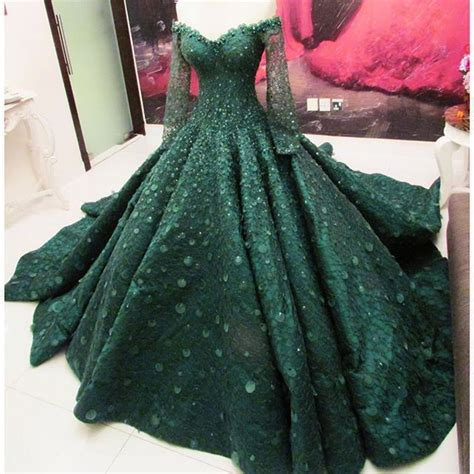 emerald green engagement dress  client  qatar