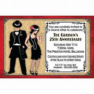 Roaring twenties party invitations cimvitation for Roaring twenties invitation template