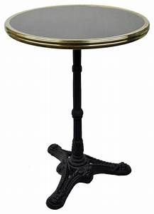 French Bistro Table, Black Granite and Iron Base