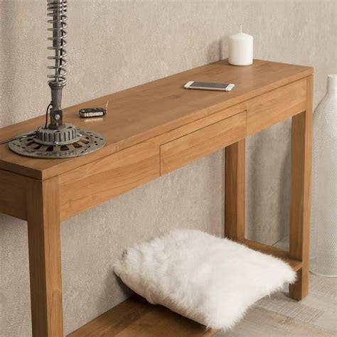 console en bois console de salon en bois de teck massif moderne rectangle naturel l 120