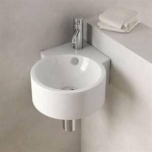Petit Lave Main D Angle Wc : lave mains d 39 angle suspendu 30x44 cm c ramique pure ~ Premium-room.com Idées de Décoration