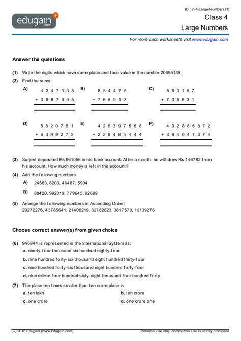 cbse class 5 maths worksheets maths number system
