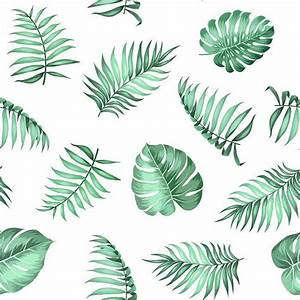 Topical Palm Leaves On Seamless Pattern For Fabric Texture Vector Illustration Self Adhesive