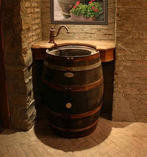 Home Bathroom Sink Wine Barrel Idea  Home Decor