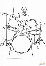 Drum Coloring Drums Player Coloriage Musique Instruments Batterie Dessin Drumset Cartoon Bateria Coloriages Instrument Musicales Dibujos Instrumentos Drawing Colorare Printable sketch template