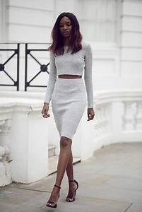 Natasha N - Crop Top Pencil Skirt Missguided Heels - Grey Matters | LOOKBOOK