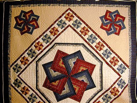 navy  burgundy star spin quilt photo