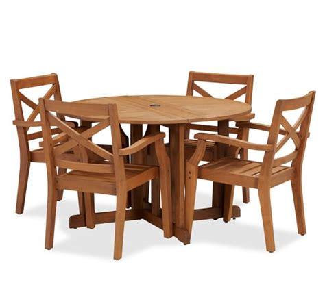 pottery barn kirkwood dining table hstead teak round drop leaf dining table chair set