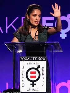 feminist earrings salma hayek in low cut dress as she is honoured at charity