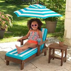 kidkraft chaise lounger with umbrella side table kids