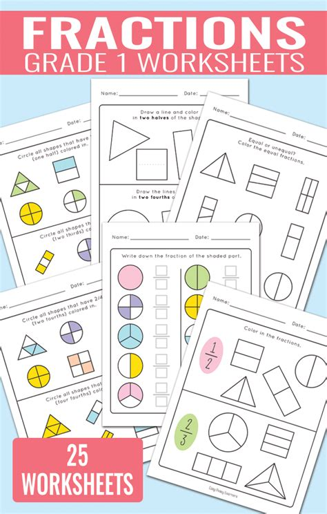fractions worksheets for grade 1 activities for kids
