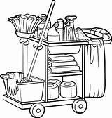 Custodian Cart Coloring Clipart Janitor Maid Vector Clip Illustrations Cliparts Graphics Vectors sketch template
