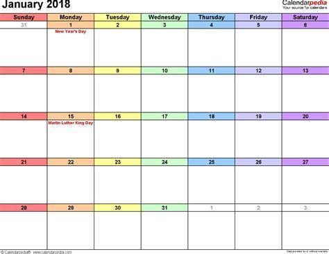 calendar template january 2018 january 2018 calendars for word excel pdf