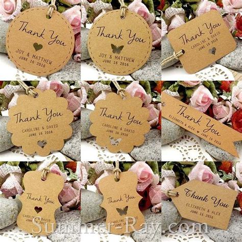 personalized brown kraft wedding favor tags