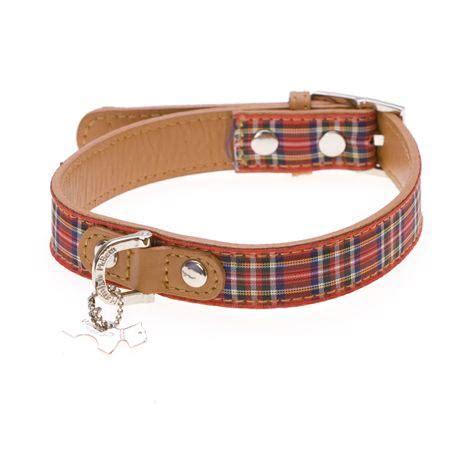 highland designer leather dog collar red tartan