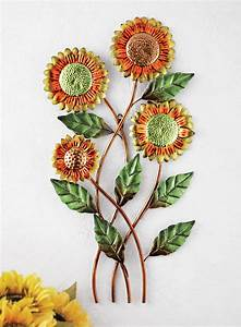 floral country sunflower metal wall art yellow orange With sunflower wall decor