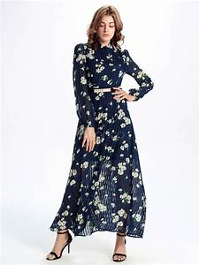 long sleeves maxi dress navy chiffon floral printed long With robe mousseline manche longue