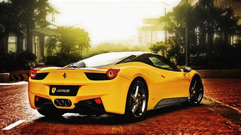 Yellow Ferrari Hd Wallpaper