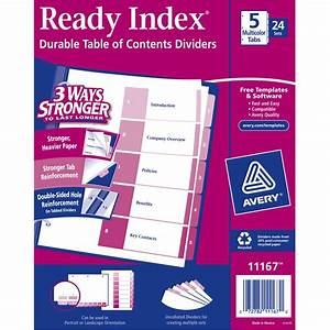 avery ready index table of contents dividers 5 tab With avery 5 tab table of contents template