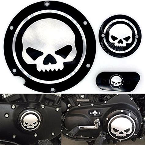 motorcycle black chrome skull timing accessories engine derby timer
