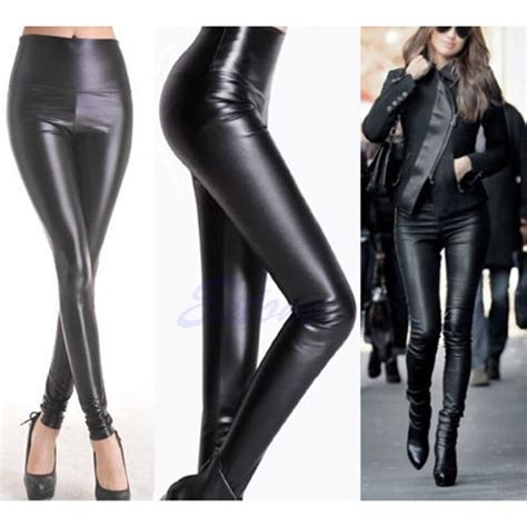High Waist Faux Leather s high waisted faux leather stretch