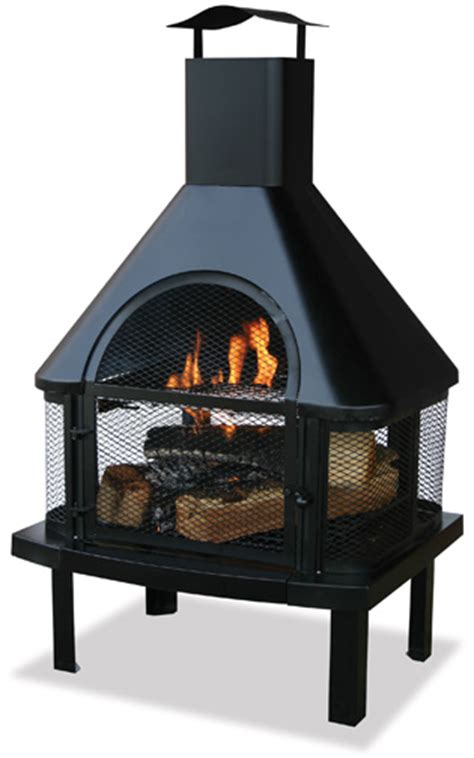 uniflame black outdoor fireplace with chimney