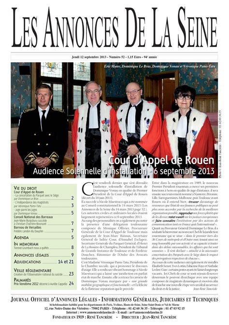 magistrat du siege edition du jeudi 12 septembre 2013 by annonces de la seine