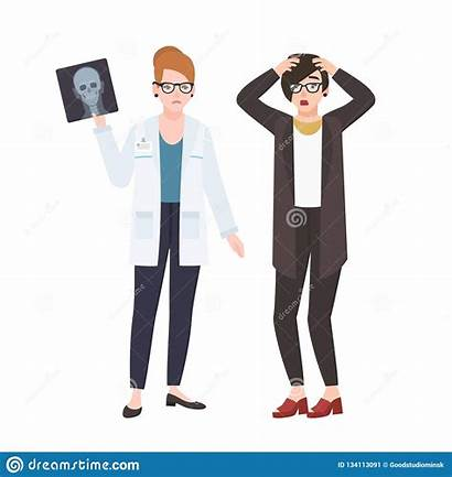 Angry Female Doctor Medico Patient Isolated Demonstrating