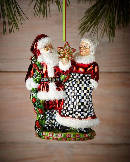 mackenzie childs mr and mrs claus christmas ornament