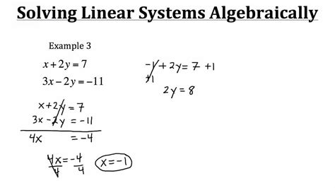 Solving Linear Systems Algebraically Youtube