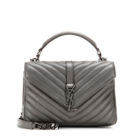 lyst saint laurent classic monogram quilted leather shoulder bag  gray