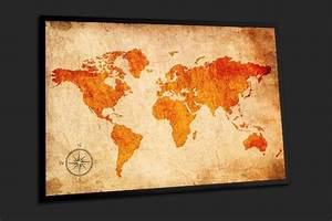 Tableau Du Monde : decoration murale carte du monde horizon de couleurs oranges home photo ~ Teatrodelosmanantiales.com Idées de Décoration