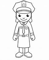 Police Coloring Pages Officer Policeman Printable Woman Cartoon Clipart Officers Crafts Cliparts Army Drawings Community Helpers Library Colouring Drawing Sheets sketch template