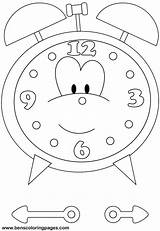 Clock Coloring Pages Printable Craft Kindergarten Printables Worksheets Preschool Sheets Benscoloringpages 3d Spin sketch template
