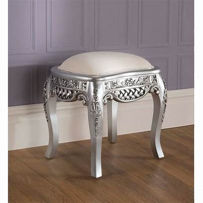 French Silver Antique Stool Rochelle Furniture Bedroom