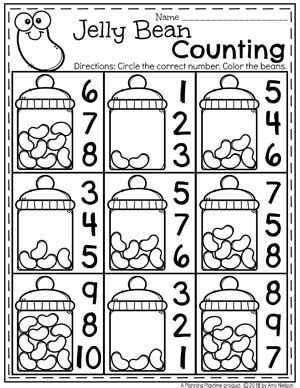 easter worksheets planning playtime 840 | Easter Worksheets for Preschool Jelly Bean Counting