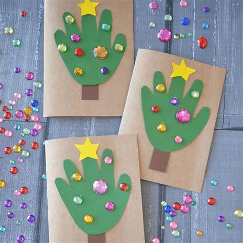 christmas art projects in austrailia diy handprint tree cards blitsy