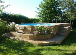 les piscines en bois en photo With piscine bois semi enterree installation