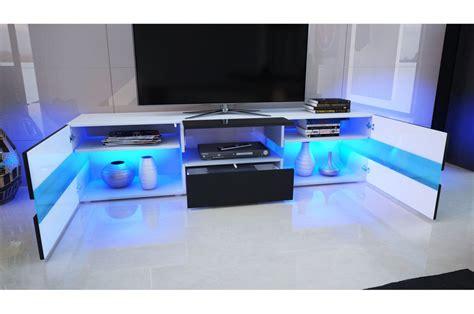 Www Tv by Meuble Tv Design Blanc Laqu 233 201 Clairage Led Pour Salon