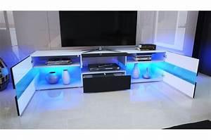 Meuble TV Design Blanc Laqué / Éclairage LED Novomeuble