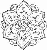 Coloring Pages Girly Adults Colour Mandala Easy Flower Mandalas Abstract sketch template
