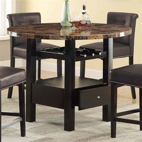 espresso counter height dining table manhattan round faux marble counter height dining table