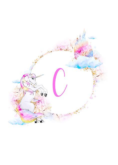 unicorn printable monograms collection  cottage market