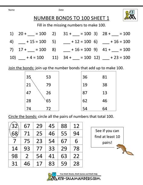 math fact sheets number bonds to 100 1 maths