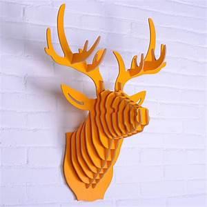 Tete D Animal Murale : t te d 39 animal en bois mur pendaison t te de cerf d coration murale artisanat en bois sculpt ~ Teatrodelosmanantiales.com Idées de Décoration