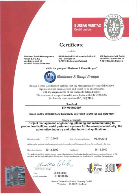 certification bureau veritas certificate madlener produktionssysteme gmbh co kg