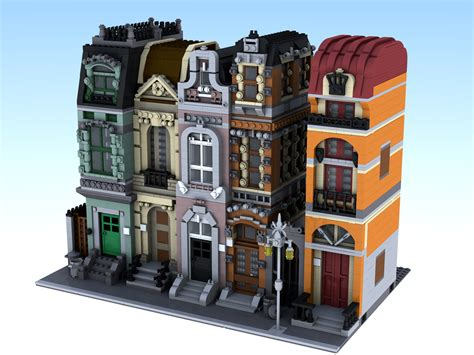 [moc] Modular Brickstreet And Orange Building  Lego Town