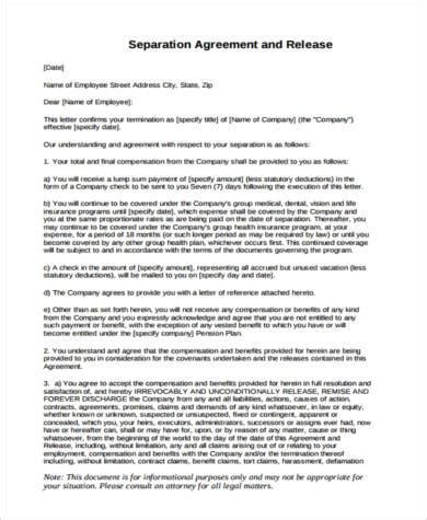 separation agreement form samples   ms word