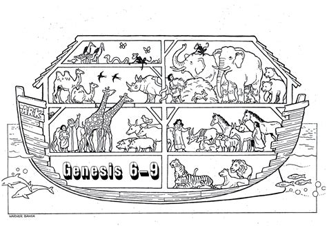coloring page  paired animals  noahs ark noahs ark