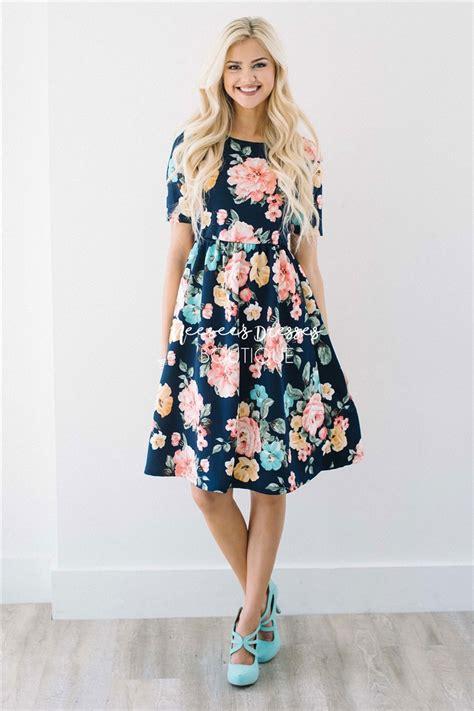 navy pink sage floral modest summer dress cute modest